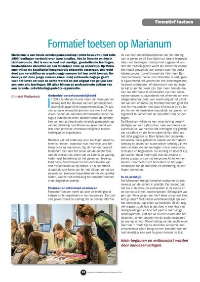 Artikel 'Formatief Toetsen bij Marianum' in Tijdschrift voor Economisch Onderwijs