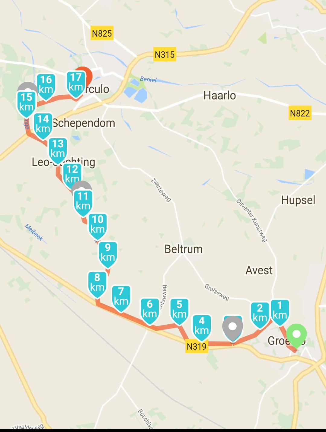 Het waren 20 kilometers