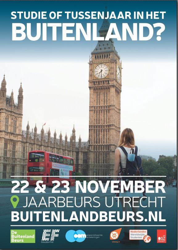 Leerlingen (gratis) naar BuitenlandBeurs op 22 en 23 november 2019